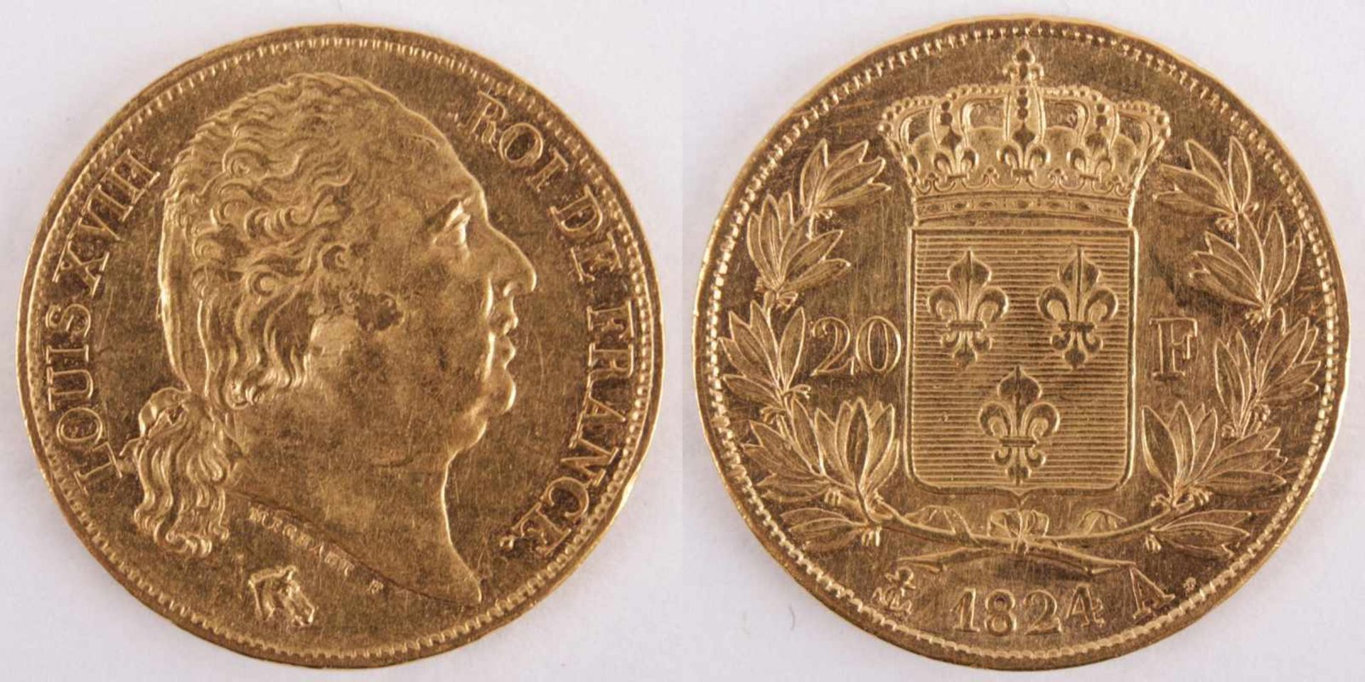 Los 10 - Gold coin: 20 Franc 1824 France, 20 Franc, Louis XVIII, MICHAUT F, year 1824, gold coin, 900/1000