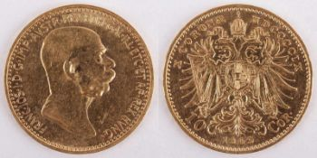 Gold coin: 10 Crown FJI 1909 Austria-Hungary, 10 Crown Franz Joseph I., Marshall type, year 1909,