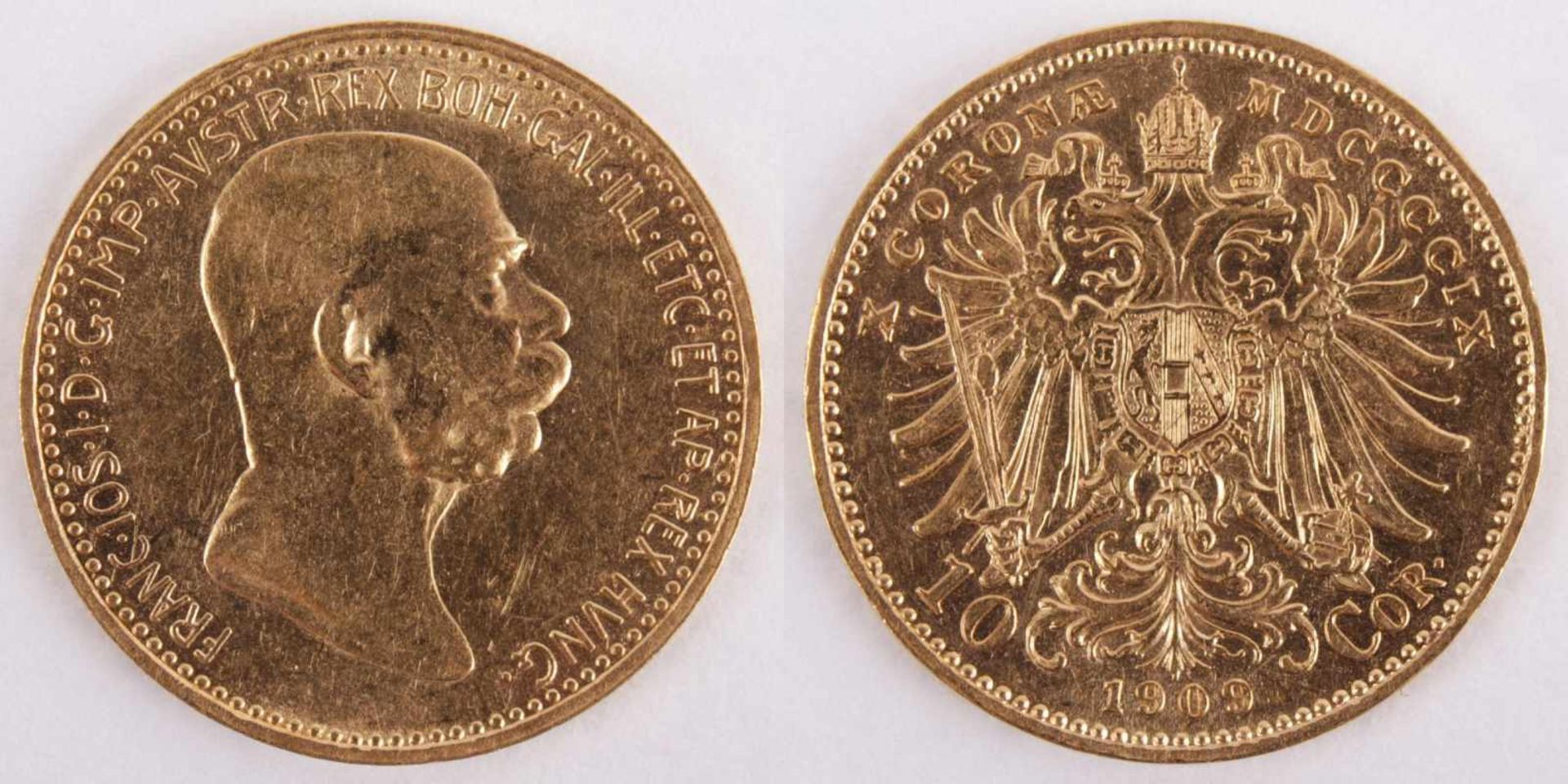 Los 6 - Gold coin: 10 Crown FJI 1909 Austria-Hungary, 10 Crown Franz Joseph I., Marshall type, year 1909,