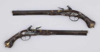 A pair of luxurious flintlock pistols La Marre A VIENNE Date: circa 1680 Guns decorated with