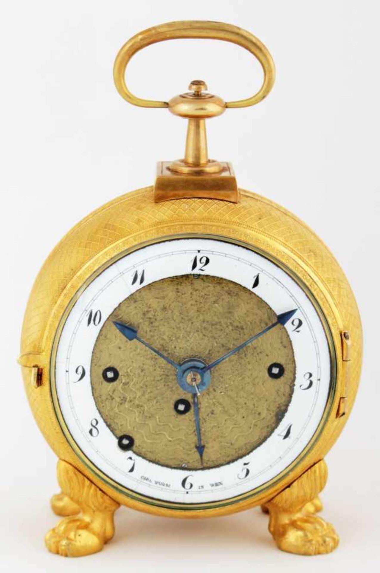 Los 19 - Empire travel clock Carl Wurm in Wien Austria, Vienna, circa 1820, travel clock with alarm, enameled