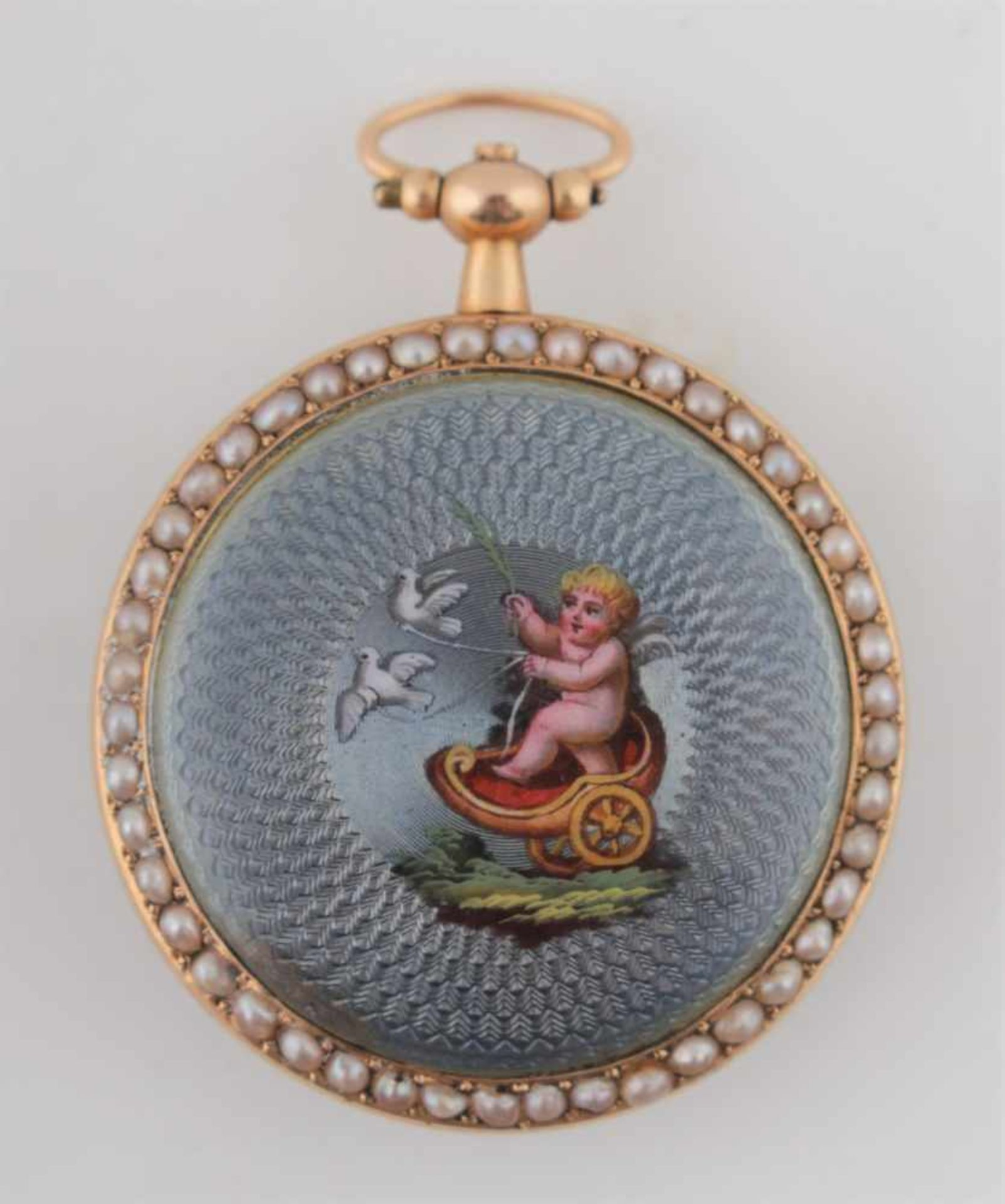 Los 14 - Pocket watch decorated with figurative enamel Switzerland, Geneva, 1st half of the 19th century,