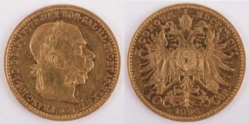 Gold coin: 10 Crown FJI 1896 Austria-Hungary, 10 Crown Franz Joseph I., year 1896, gold coin, 900/