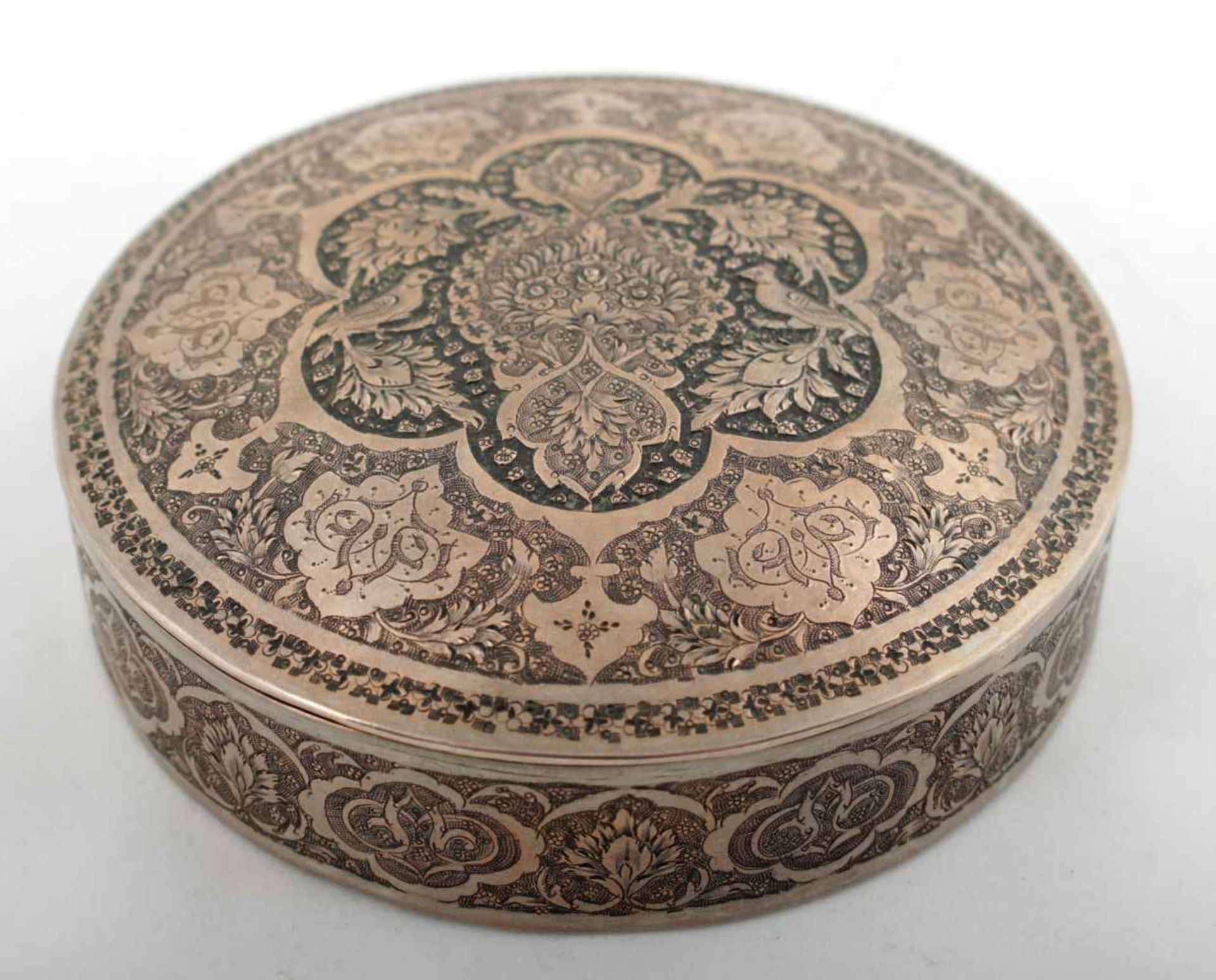 Persian silver box Persia, 1st third of the 20th century, silver box, birds and flowers relief