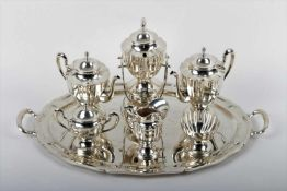 Large silver tea and coffee service Europe, 1st third of the 20th century, silver tea and coffee