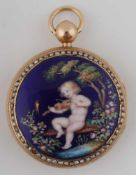 Pocket watch decorated with figurative enamel First half of the 19th century, women´s pocket