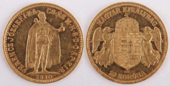 Gold coin: 10 Crown 1910 Austria-Hungary, 10 Crown, year 1910 KB, gold coin, 900/1000 fineness,