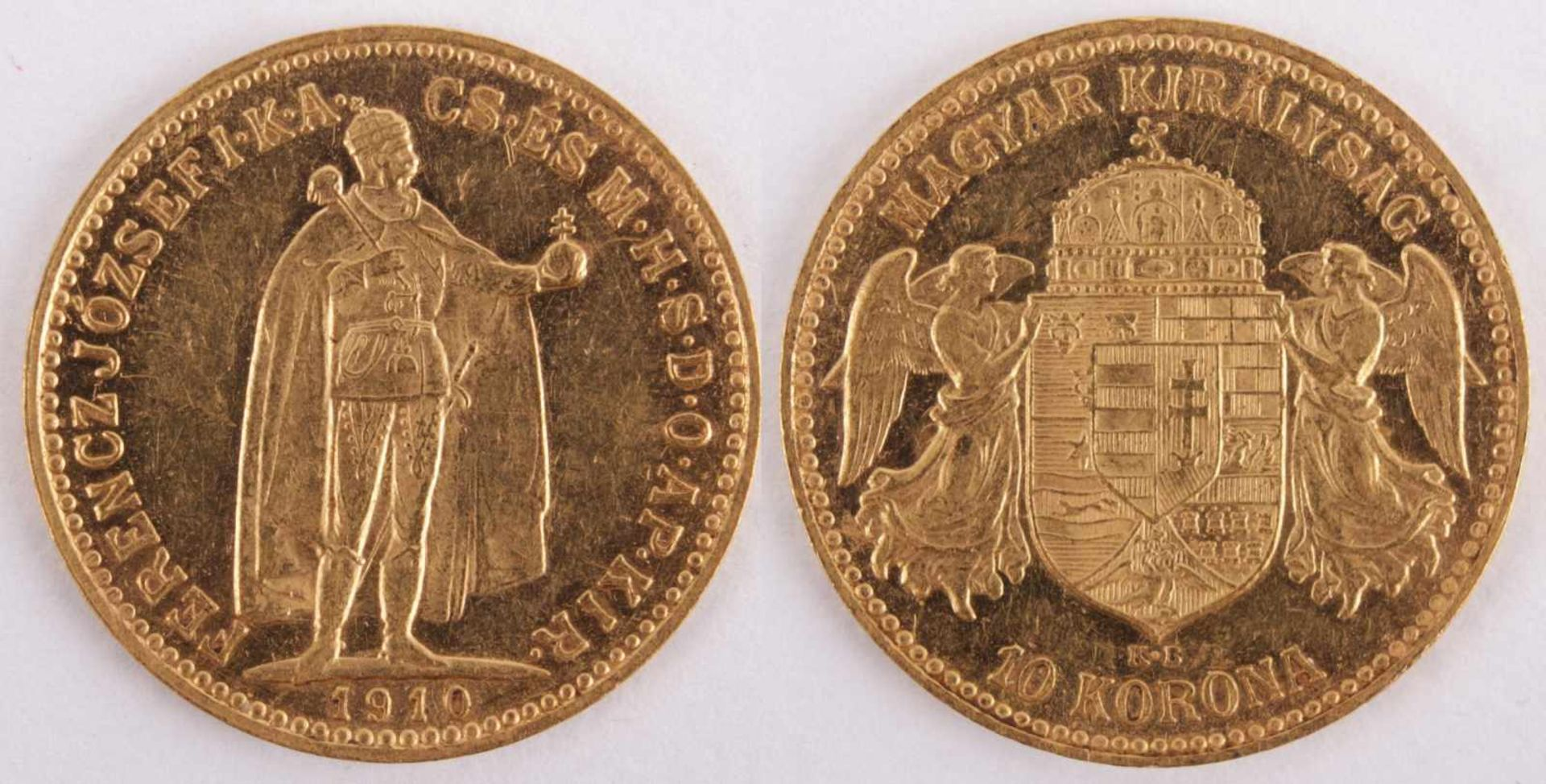 Los 4 - Gold coin: 10 Crown 1910 Austria-Hungary, 10 Crown, year 1910 KB, gold coin, 900/1000 fineness,