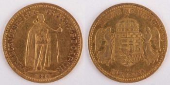 Gold coin: 10 Crown 1894 Austria-Hungary, 10 Crown, year 1894 KB, gold coin, 900/1000 fineness,
