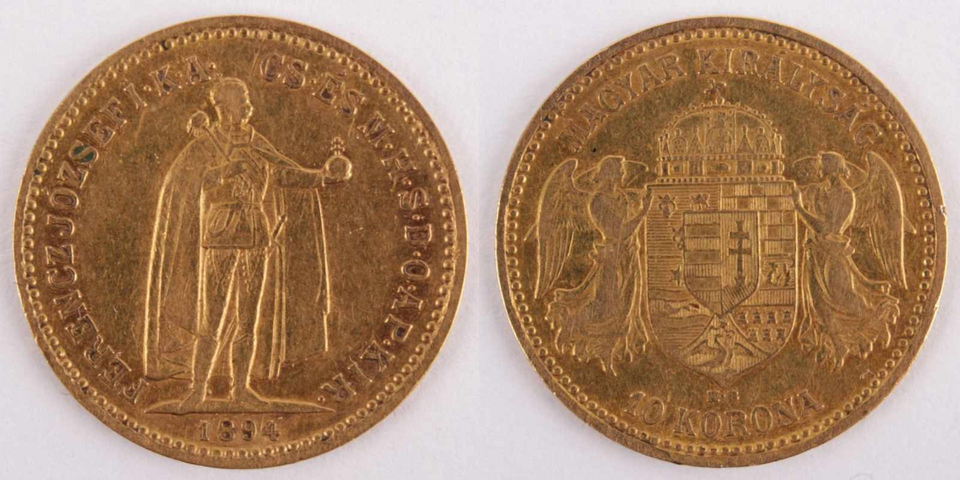 Los 3 - Gold coin: 10 Crown 1894 Austria-Hungary, 10 Crown, year 1894 KB, gold coin, 900/1000 fineness,