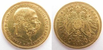 Zlata mince: 10 Koruna FJI 1905 Rakousko-Uhersko, 10 Koruna Frantisek Josef I., rocnik 1905, zlata