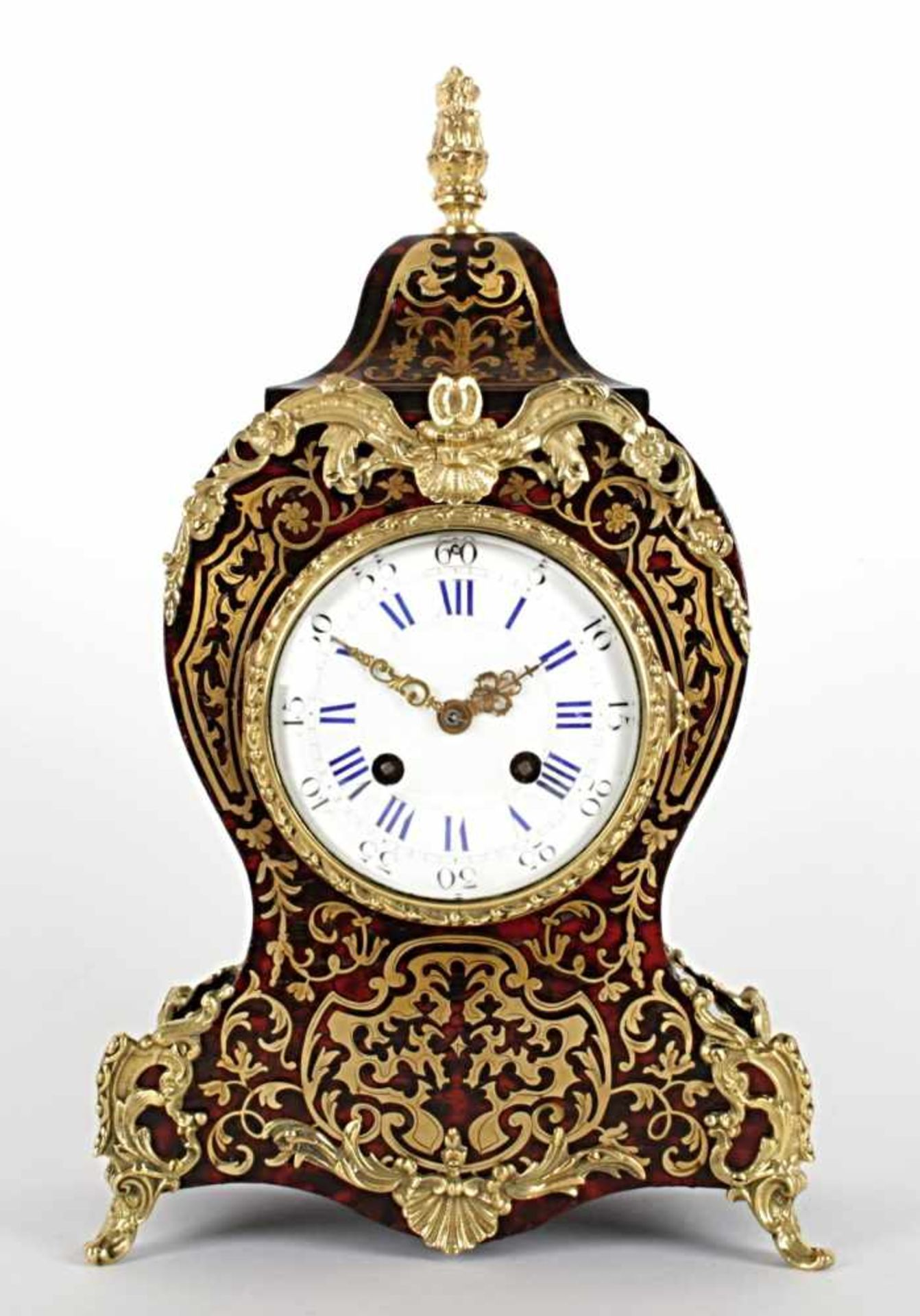 French table clock France, Paris, 2nd half of the 19th century, enamel dial, case inlaid with