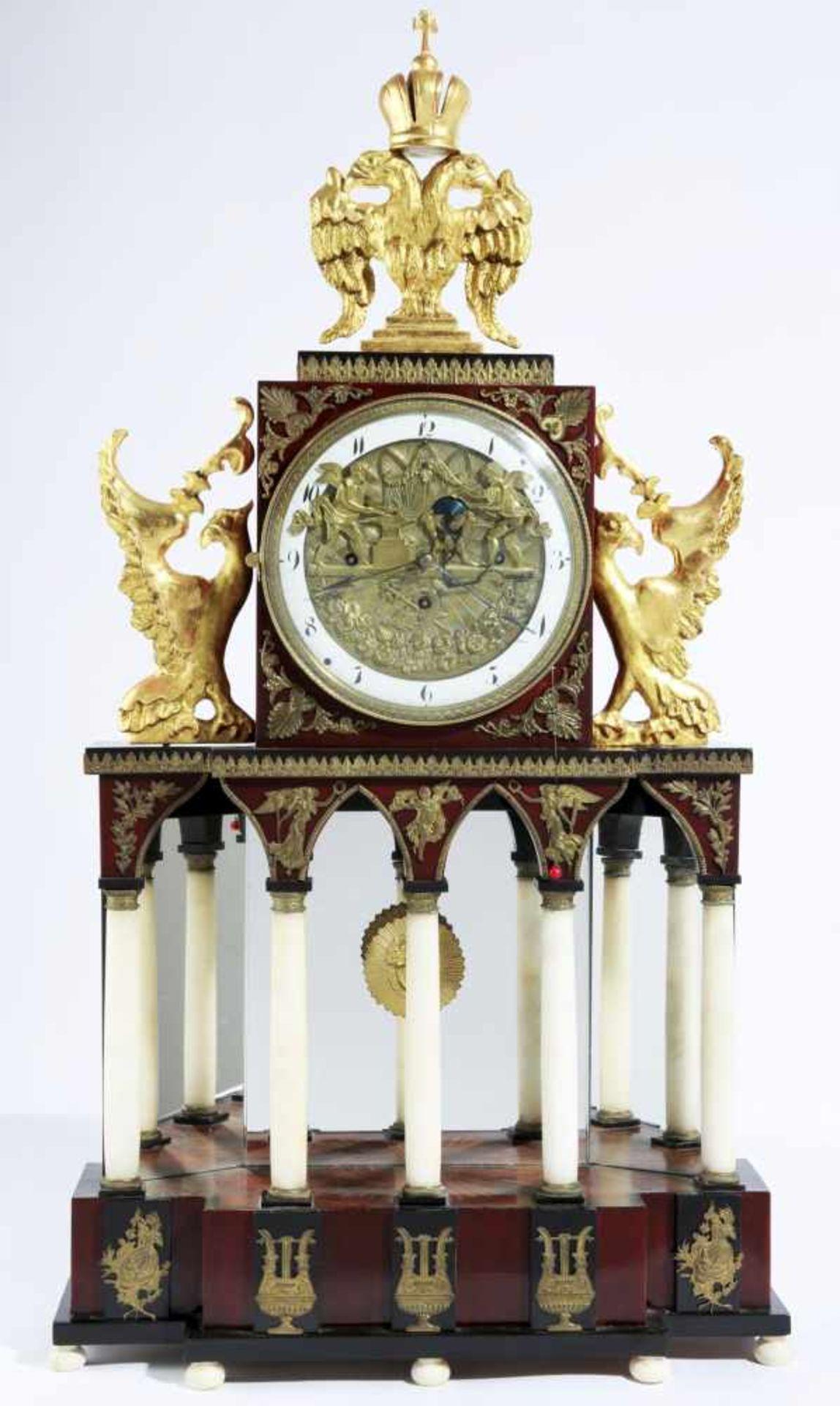 Austrian Empire automaton clock Austria, Vienna, cca 1810, gilded and blackened bronze, anchor