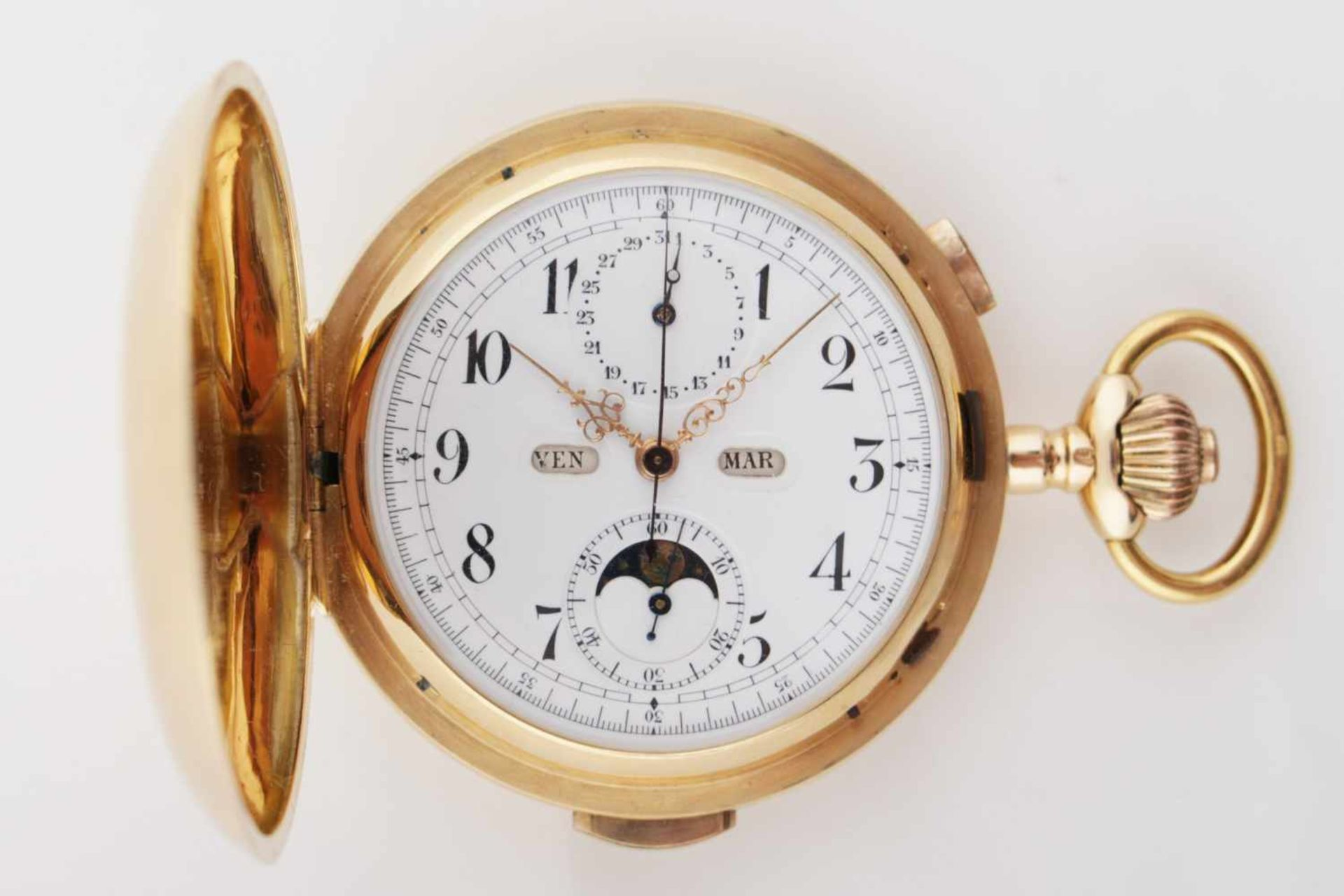 Los 16 - Chronograph with minute beatings, lunar and date indicator Beginning of the 20th century, massive