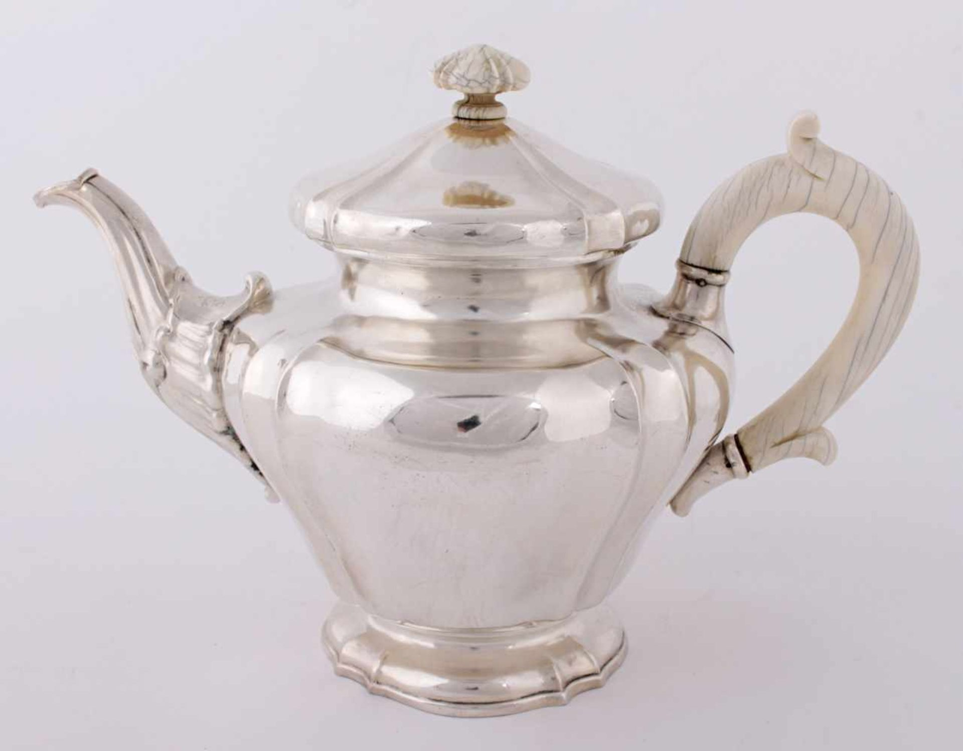 Silver tea pot with ivory handles Middle Europe, 2nd half of the 19th century, silver tea pot, 800/