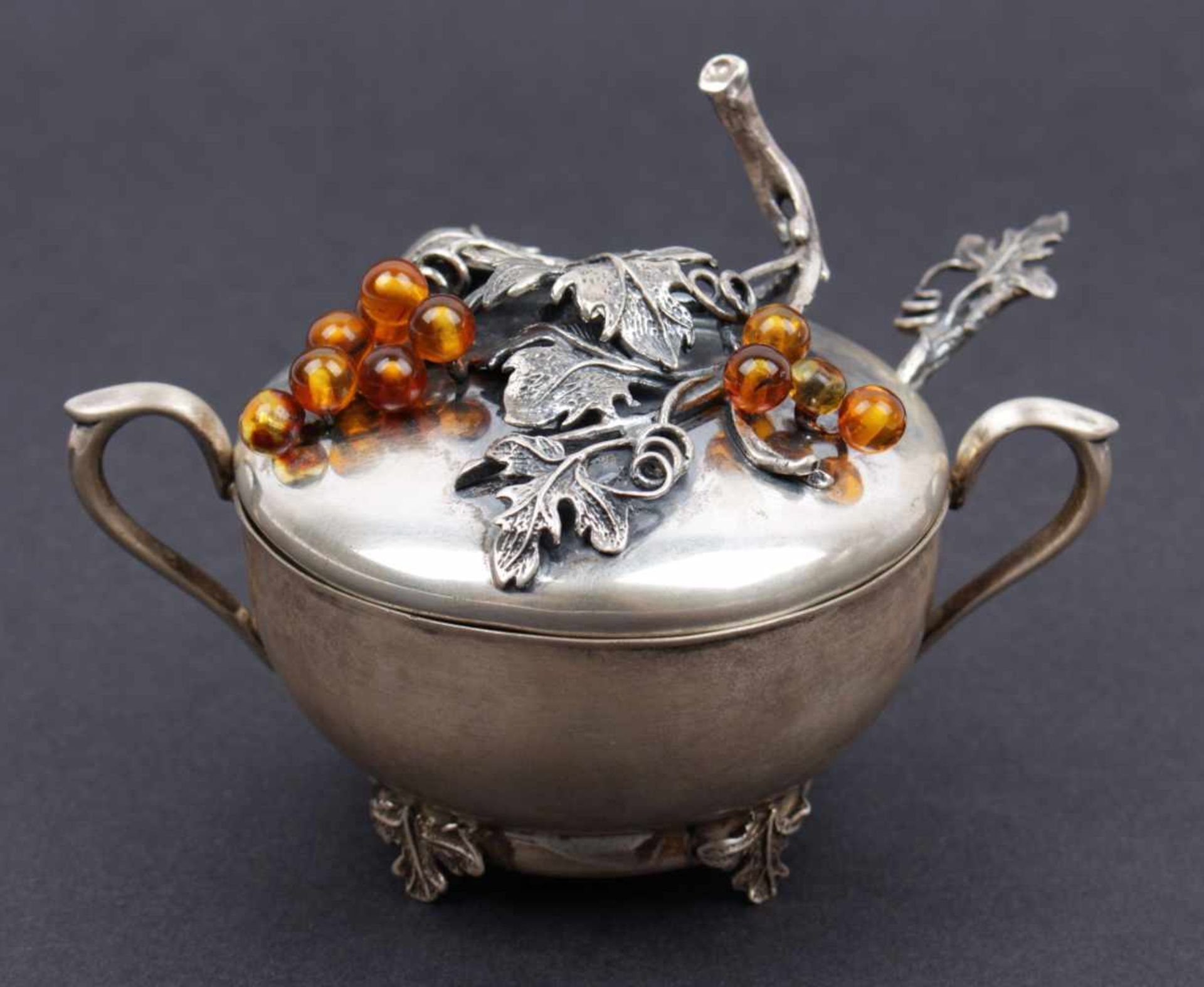 Silver sugar bowl Poland, 3rd thurd of the 20th century, silver sugar bowl decorated with a relif of