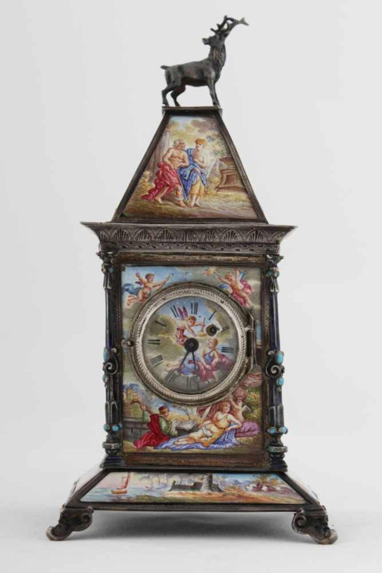 Viennese miniature enamel clock Austria, Vienna, around 1890, Karl Bender, marked: KB, A, case of