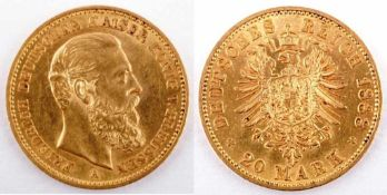 Gold coin: 20 Mark 1888 Prussia, 20 Mark, Friedrich III., year 1888 A, gold coin, 900/1000 fineness,