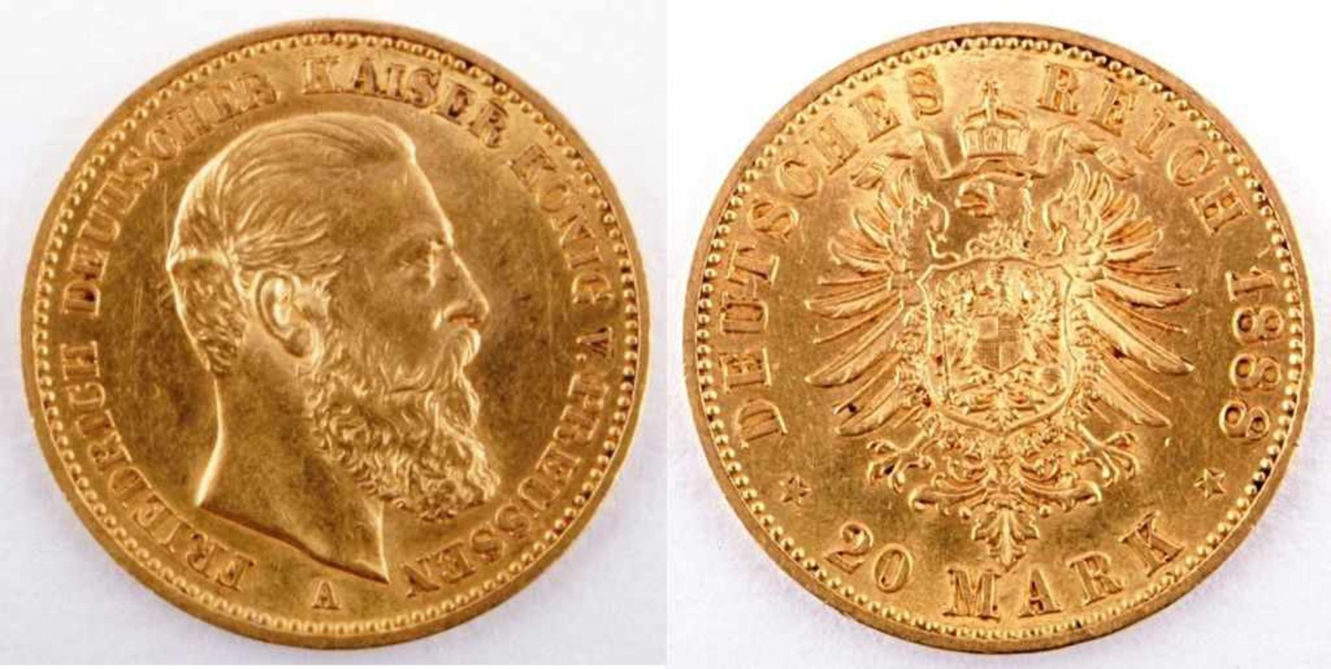 Los 11 - Gold coin: 20 Mark 1888 Prussia, 20 Mark, Friedrich III., year 1888 A, gold coin, 900/1000 fineness,