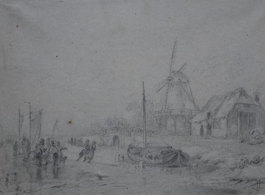 A Schelfhout Tekening Ijsgezichtpotloodtekening 19 X 25