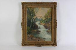 Schilderij, olieverf op doek 'Buck hill fall'. Gerard Wiegman (1875-1964) HxB: 46 x 56 cm.