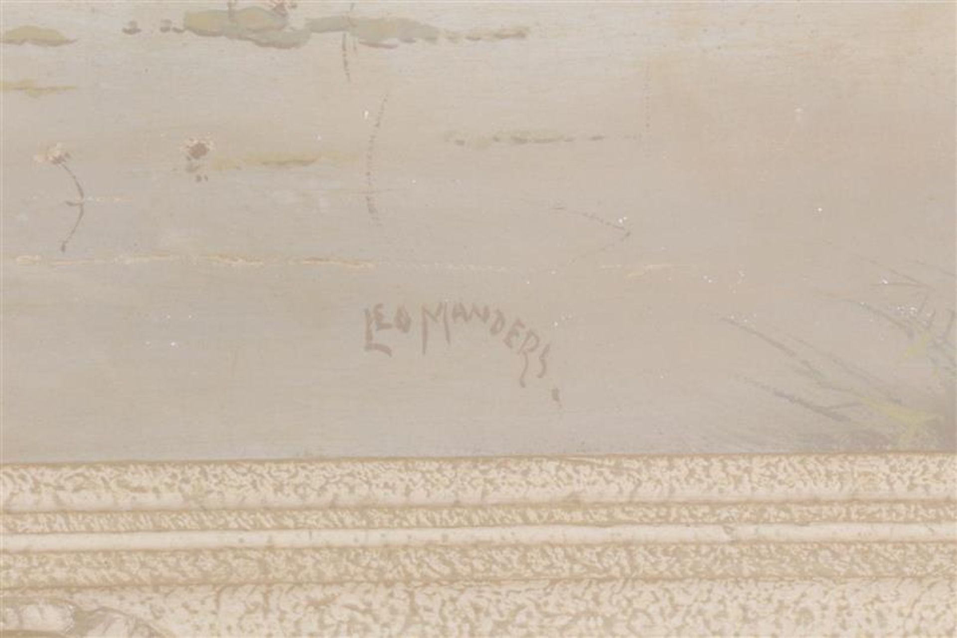 Los 34 - Twee schilderijen, één op doek en één op board, 'Gezicht op een vaart'.