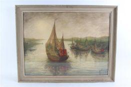 Gemengde techniek op papier 'Vissersboten in de haven'. Theo Idserda (1915-1992) HxB: 65.5 x 87.5