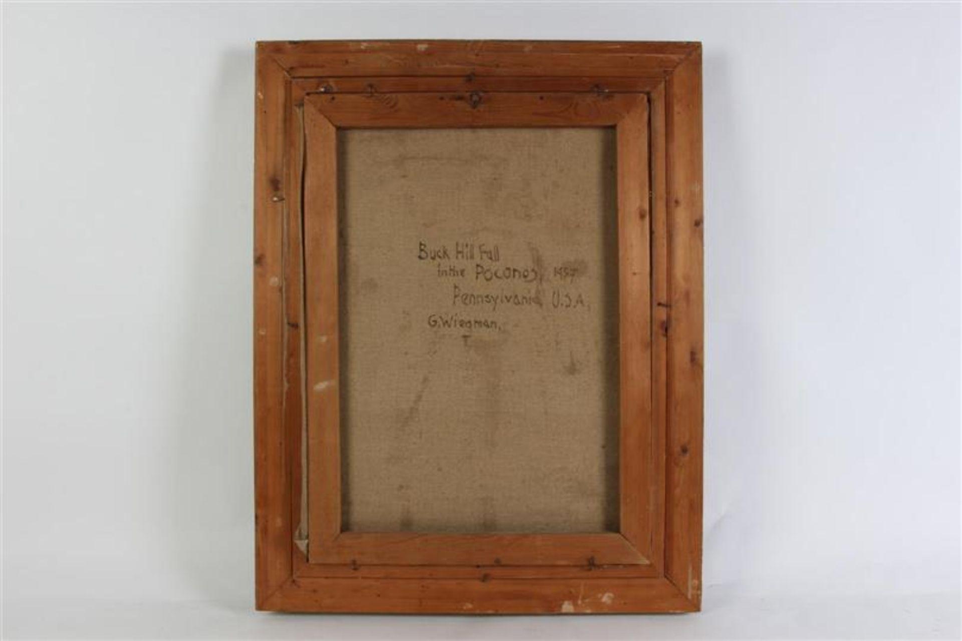 Los 13 - Schilderij, olieverf op doek 'Buck hill fall'. Gerard Wiegman (1875-1964) HxB: 46 x 56 cm.
