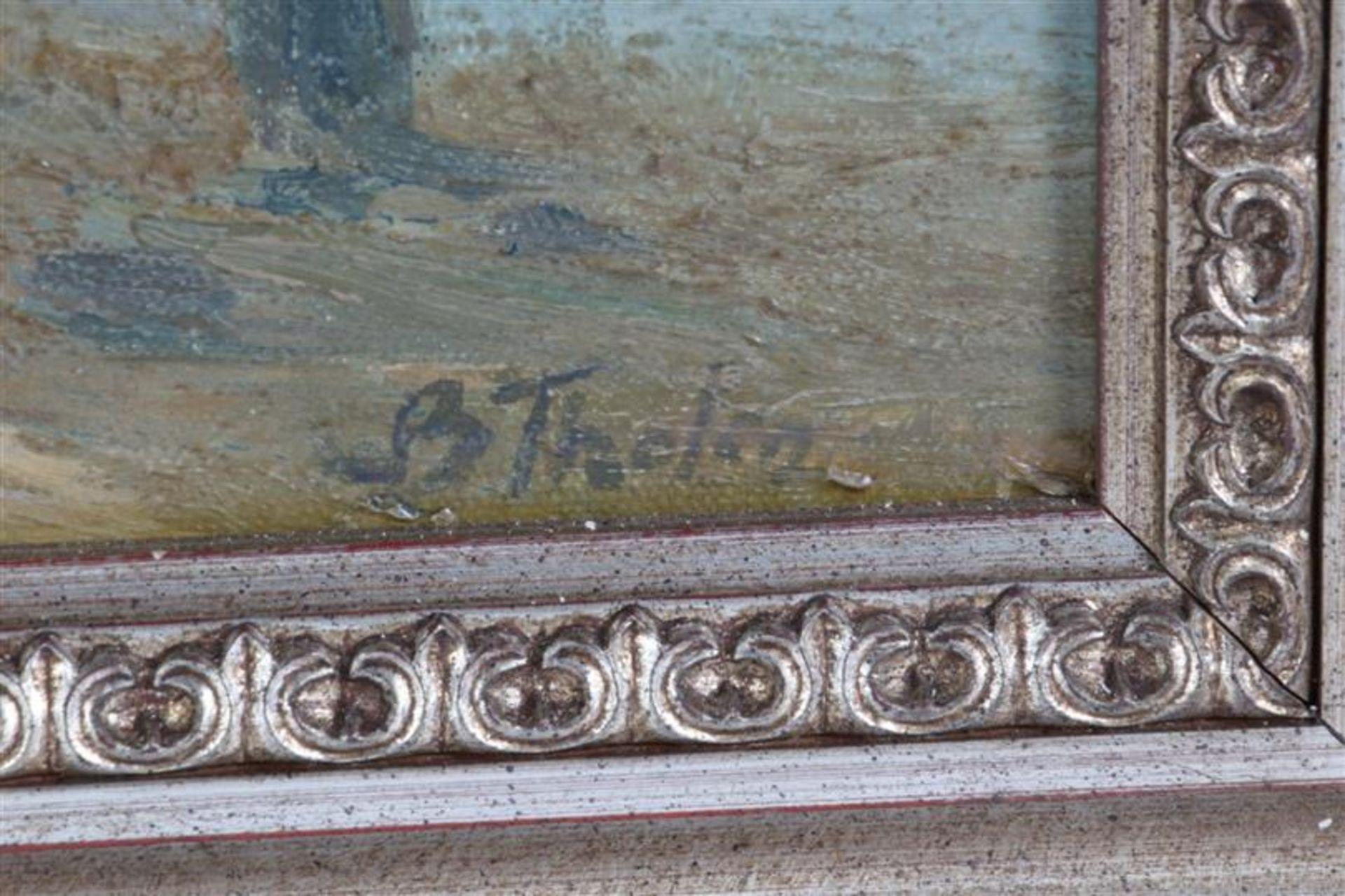 Los 12 - Marouflé 'Strandgezicht', gesigneerd B. Tholen. HxB: 46.5 x 58 cm.