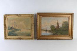 Twee schilderijen, één op doek en één op board, 'Gezicht op een vaart'.
