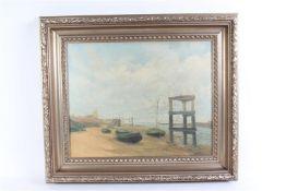Marouflé 'Strandgezicht', gesigneerd B. Tholen. HxB: 46.5 x 58 cm.