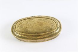 Koperen tabaksdoos, 'sacrifice d'Isaac'. L: 13.5 cm.