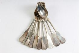 Tien lepels, 3e gehalte zilver. Gewicht: 578 g.