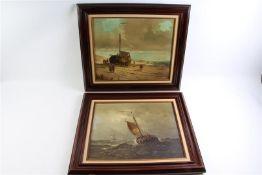 Twee schilderijen op doek, 'Zeegezicht en een strandgezicht', gesigneerd Mooyman. HxB: 50 x 60 cm.