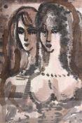 Aquarel, 'Twee dames'. Cornelis Adrianus Bernardus Bantzinger (1914-1985) HxB: 77 x 57 cm.