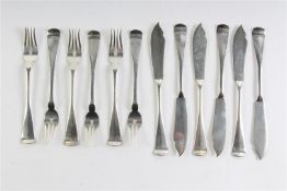 Zes zilveren viscouverts, Hollands gekeurd. Gewicht: 394 g.