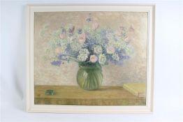 Schilderij op board, 'Bloemstilleven'. Mies Elout Drabbe (1875-1956) HxB: 74 x 89 cm.