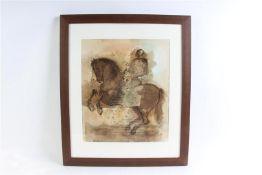 Aquarel, 'Ruiter te paard'. Miguel Wetzell Gayoso (1951-) HxB: 45 x 38 cm.