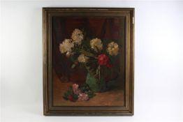 Schilderij, olieverf op doek, 'Bloemstilleven'. Albertus Gradus Gerritsen (1897-1989) HxB: 90 x 73