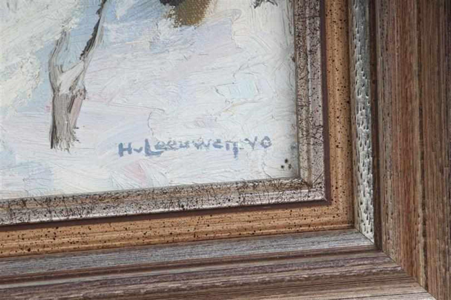 Schilderij, olieverf op doek, 'Dorpsstraatje in de sneeuw'. Hendrik Van Leeuwen van Oudewater ( - Bild 2 aus 4