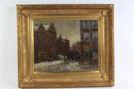Schilderij, olieverf op doek, 'Amsterdams stadsgezicht in de winter', onduidelijk gesigneerd. HxB: