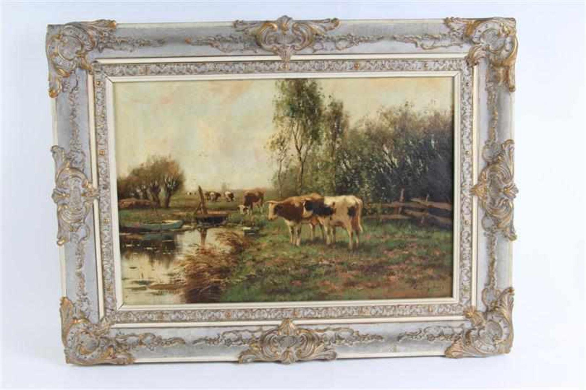 Schilderij, olieverf op doek, 'Koeien aan de waterkant'. C Verschuur ( Cor Bouter) (1888-1966)
