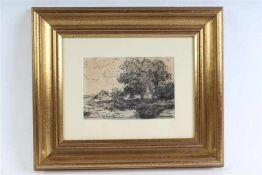 Houtskooltekening, 'Boerderij met bomen'. Willem Roelofs (1822-1897) HxB: 12 x 18 cm.