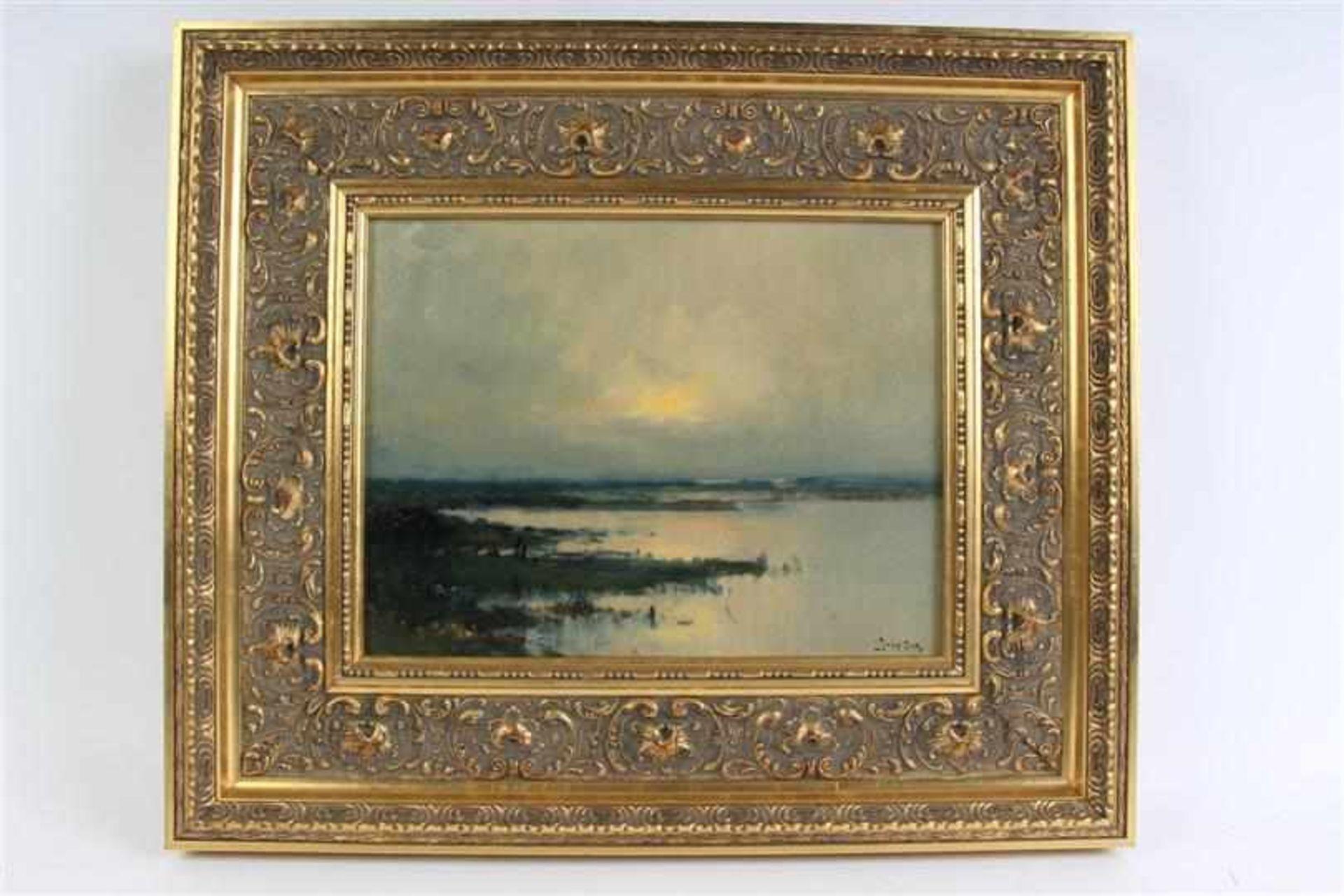 Schilderij, olieverf op board, 'Vennetje'. J. Sax (1899-1977) HxB: 25.5 x 33.5 cm.
