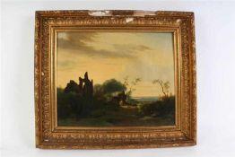Schilderij olieverf op paneel 'Arcadisch landschap'. HxB: 33 x 42 cm.