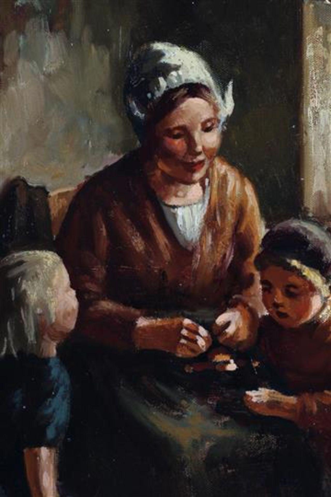 Schilderij, olieverf op doek, 'Interieur'. Henk van Leeuwen (1890-1972) HxB: 50 x 40 cm. - Bild 2 aus 4