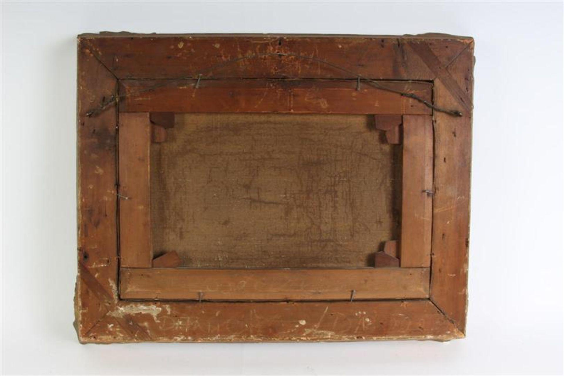 Schilderij, olieverf op doek, 'Zeegezicht', naar H. Koekoek. HxB: 30 x 42 cm. - Bild 4 aus 4