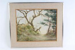 Schilderij, olieverf op doek, 'Ontbladeren', deukje. Ton Pape (1916-2003) HxB: 40 x 50 cm.