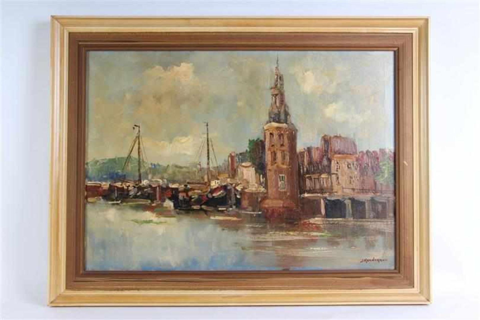 Schilderij, olieverf op doek, 'Gezicht op de Montelbaanstoren te Amsterdam'. Jan Kelderman (1914-