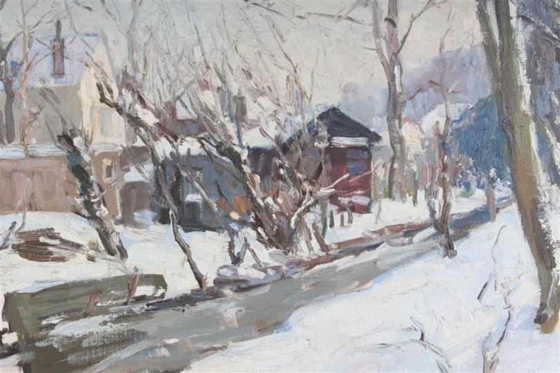 Schilderij, olieverf op doek, 'Dorpsstraatje in de sneeuw'. Hendrik Van Leeuwen van Oudewater ( - Bild 3 aus 4